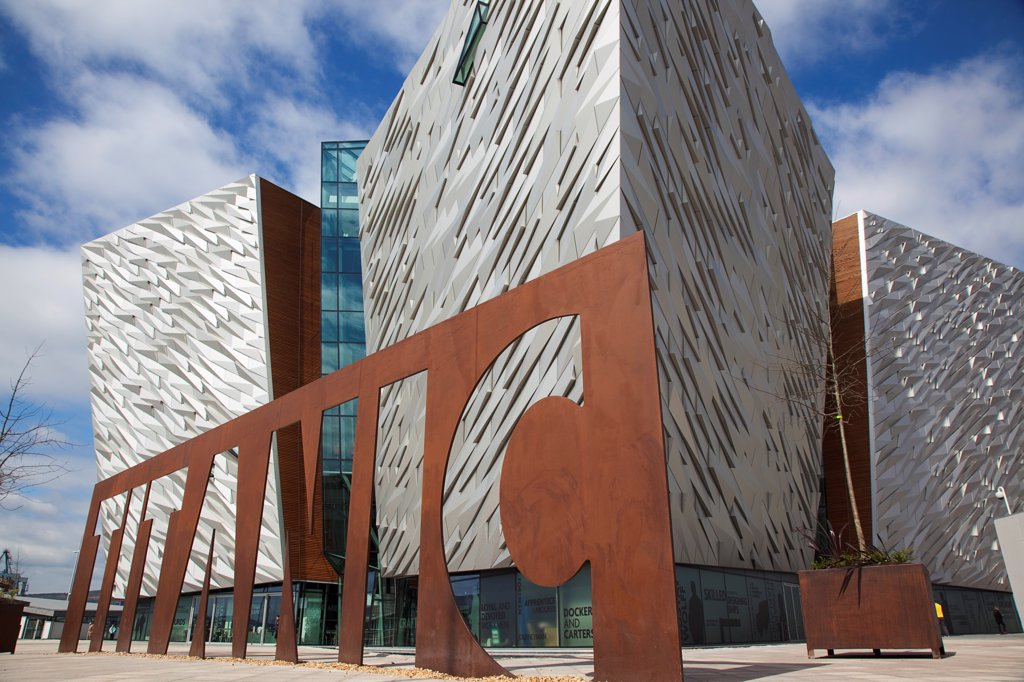 Stock Photo: 1850-46132 Ireland, North, Belfast, Titanic Quarter, Visitor centre designed by Civic Arts & Eric R Kuhne.