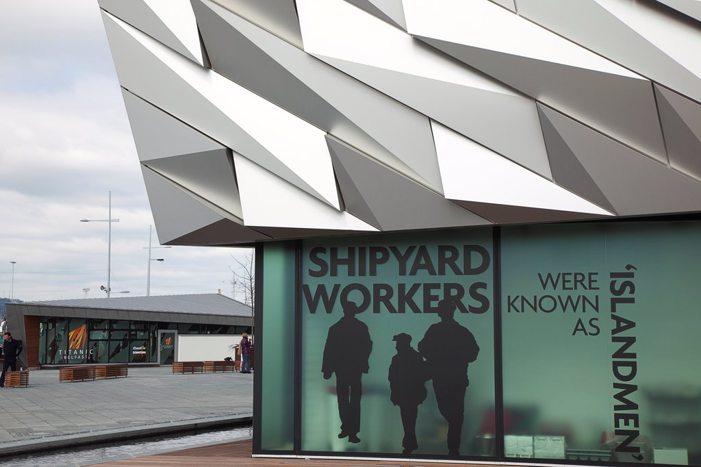 Stock Photo: 1850-46150 Ireland, North, Belfast, Titanic Quarter, Visitor centre designed by Civic Arts & Eric R Kuhne.