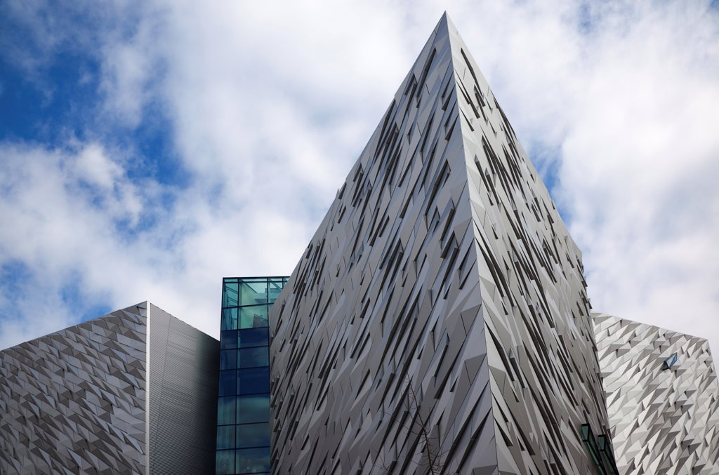 Stock Photo: 1850-46157 Ireland, North, Belfast, Titanic Quarter, Visitor centre designed by Civic Arts & Eric R Kuhne.