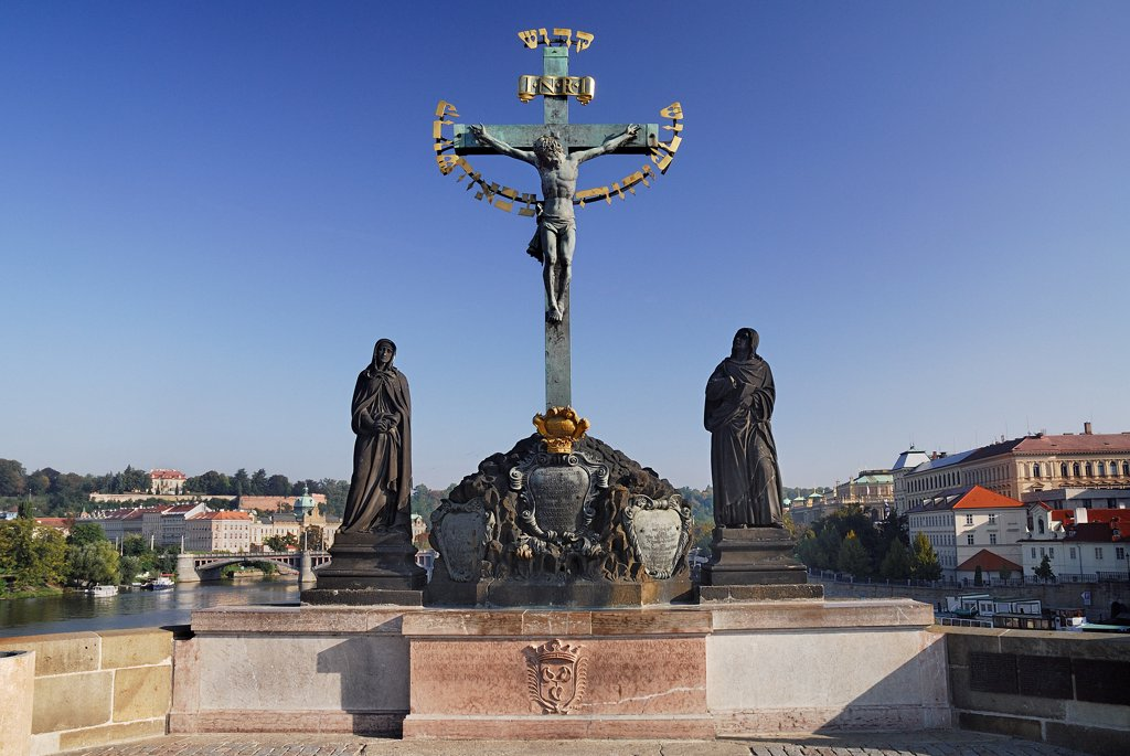 Stock Photo: 1850-46170 Czech Republic, Bohemia, Prague, Charles Bridge, Calvary.