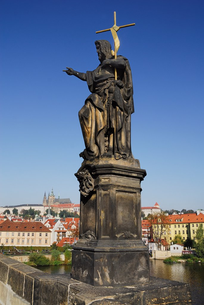Stock Photo: 1850-46172 Czech Republic, Bohemia, Prague, Charles Bridge, Statue of John the Baptist with St Vitus.