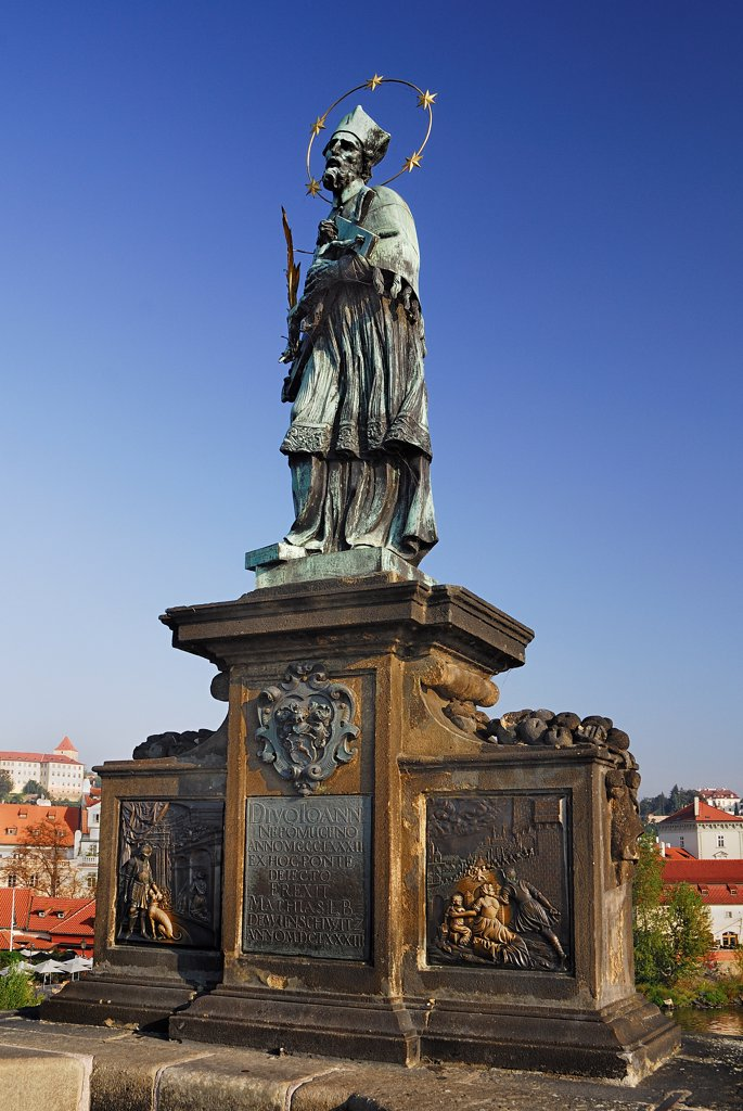 Stock Photo: 1850-46174 Czech Republic, Bohemia, Prague, Charles Bridge - Statue of St John of Nepomuk.