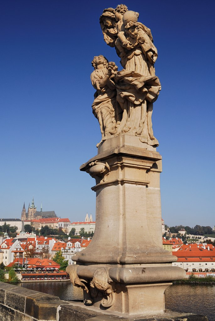 Stock Photo: 1850-46176 Czech Republic, Bohemia, Prague, Charles Bridge, Statue of Saint Anne.