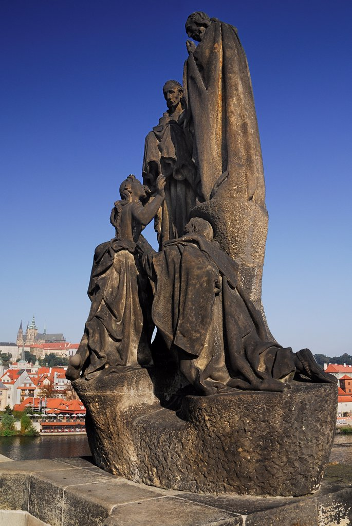 Stock Photo: 1850-46177 Czech Republic, Bohemia, Prague, Charles Bridge, Statue of St Cyril and St Methodius.