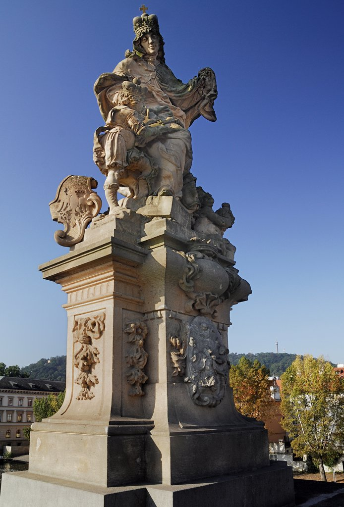 Stock Photo: 1850-46181 Czech Republic, Bohemia, Prague, Charles Bridge, Statue of St Ludmila.