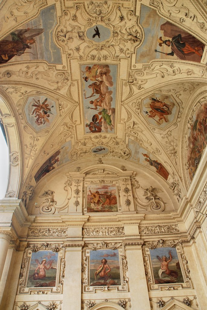 Stock Photo: 1850-46208 Czech Republic, Bohemia, Prague, Wallenstein Palace, exterior frescoes in the loggia.