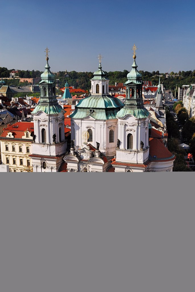 Czech Republic, Bohemia, Prague, Old Town Square, Church of St Nicholas from Old Town Hall Tower. : Stock Photo