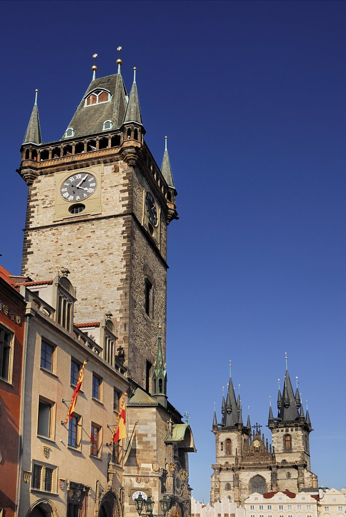 Stock Photo: 1850-46212 Czech Republic, Bohemia, Prague, Old Town Square, Old Town Hall with Tyn Church.