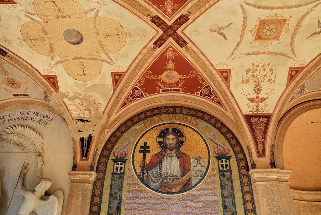 Czech Republic, Bohemia, Prague,  Vysehrad Cemetery,  Detail of a fresco in the Neo-Renaissance arcade. : Stock Photo