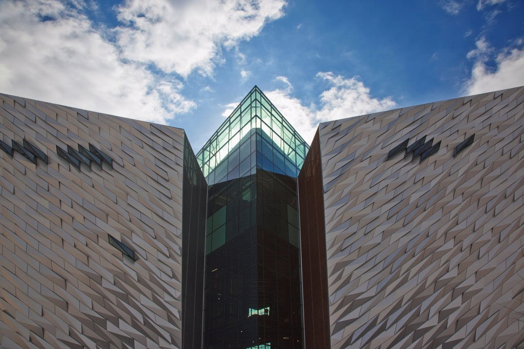 Stock Photo: 1850-46228 Ireland, North, Belfast, Titanic Quarter, Visitor centre designed by Civic Arts & Eric R Kuhne.
