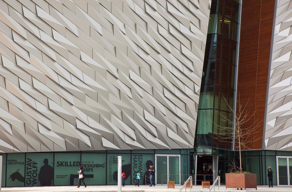 Stock Photo: 1850-46234 Ireland, North, Belfast, Titanic Quarter, Visitor centre designed by Civic Arts & Eric R Kuhne.