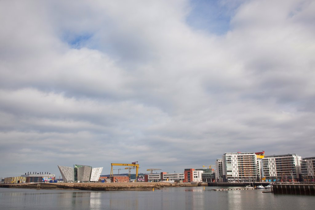 Ireland, North, Belfast, Titanic Quarter, Visitor centre designed by Civic Arts & Eric R Kuhne. : Stock Photo