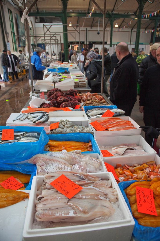 Ireland, North, Belfast, St Georges Market, fresh fish display. : Stock Photo
