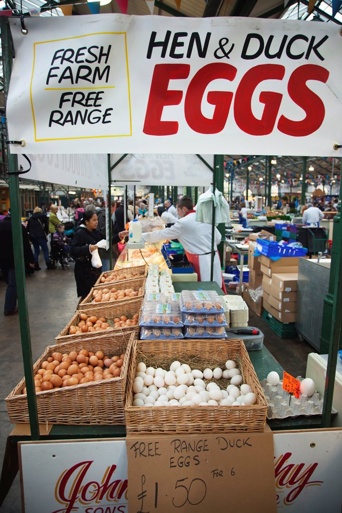 Stock Photo: 1850-46259 Ireland, North, Belfast, St Georges Market, stall selling Hen, Duck and Goose Eggs.