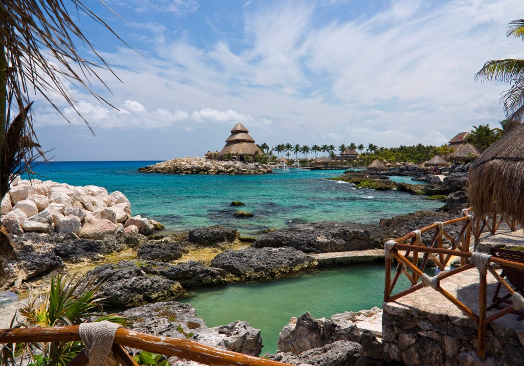 Mexico, Quintana Roo, Xcaret, View across Xcaret Bay. : Stock Photo