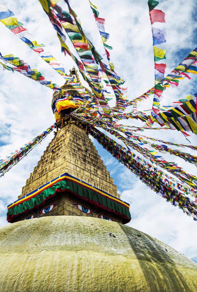 Stock Photo: 1850-46340 Nepal, Boudhanath Stupa near Kathmandu, with coloutful prayer flags.