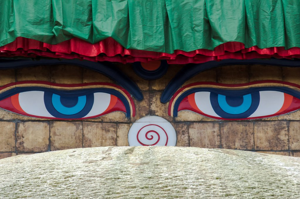 Stock Photo: 1850-46341 Nepal, Kathmandu, All-seeing Buddha eyes of Boudhanath Stupa, Chorten.