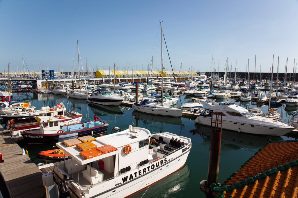 Stock Photo: 1850-46390 England, East Sussex, Brighton, view over boats moored in the Marina.