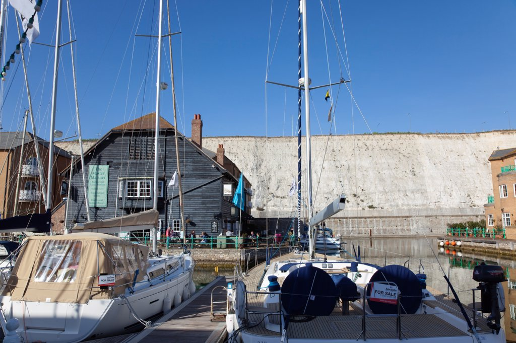 Stock Photo: 1850-46418 England, East Sussex, Brighton, boats for sale in the Marina.