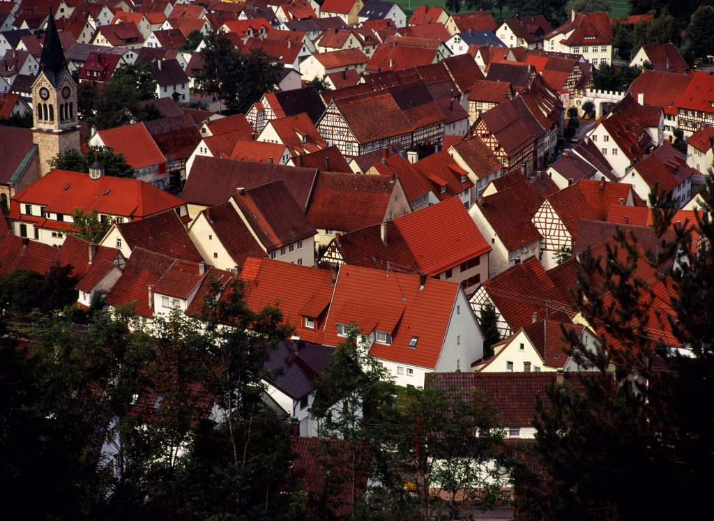 Germany, Baden-Wurttemberg, Fridingen Ander Donau, Red tile rooftops and white painted houses of village near Tuttlingen. : Stock Photo