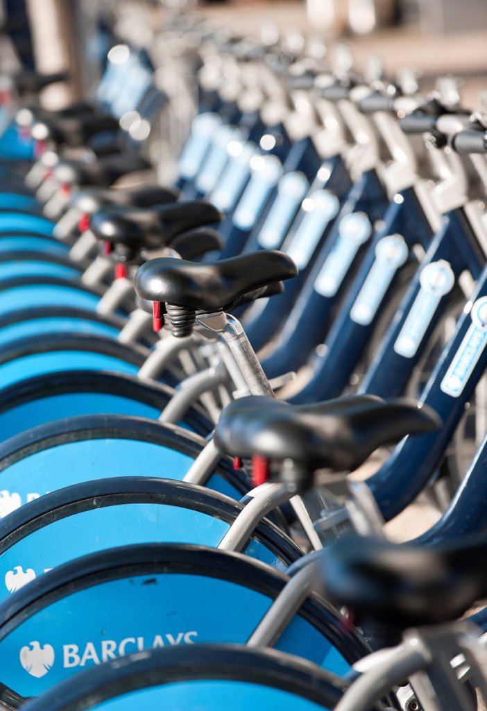 Stock Photo: 1850-47263 England, London, Barclays Cycle Hire. Bike rental station near Waterloo railway station. The scheme is also informally known as the Boris Bike scheme after Boris Johnson who was Mayor at the time the scheme was initiated.