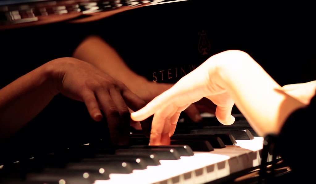 Stock Photo: 1850-47363 Music, Instruments, Keyboards, Piano Close of of musicians hands playing Steinway.
