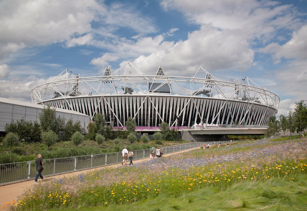 Stock Photo: 1850-47495 England, London, Stratford View of the 2012 Olympic Stadium with meadow planting in the foreground.