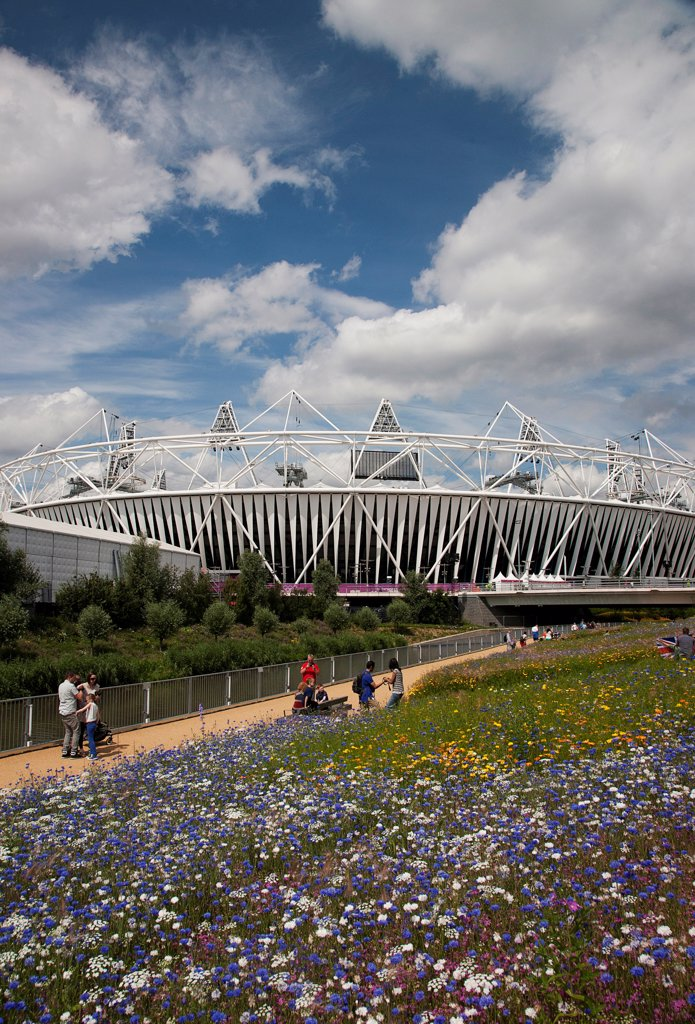Stock Photo: 1850-47497 England, London, Stratford View of the 2012 Olympic Stadium with meadow planting in the foreground.
