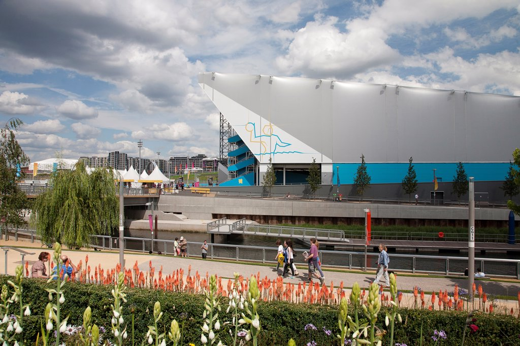 England, London, Stratford Olympic Park View of the Water Polo Arena. : Stock Photo