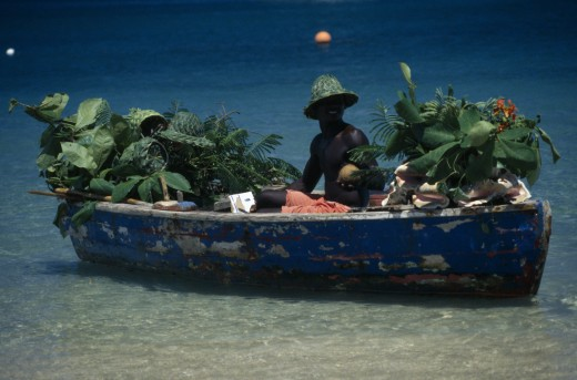 Stock Photo: 1850-4760 West Indies, St Lucia,  Reduit Beach, Beach Vendor Selling Fruit From Boat