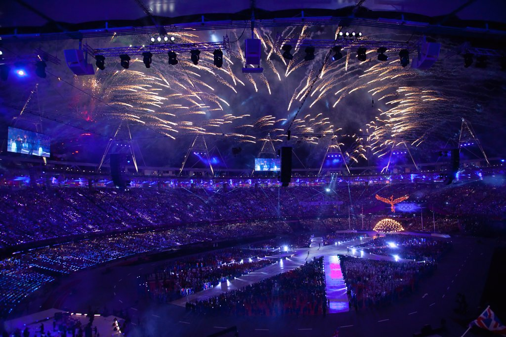 England, London, Stratford Olympic games closing ceremony. : Stock Photo