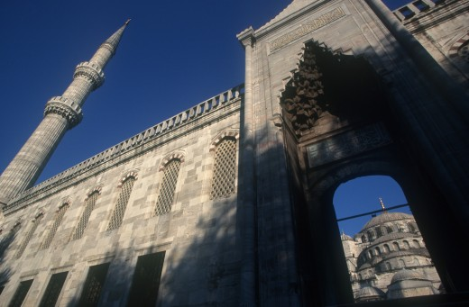 Stock Photo: 1850-4803 Turkey, Istanbul  , Blue Mosque Or Sultan Ahmet Cami Mosque. Angled View Looking Up Toward Archway And Tower