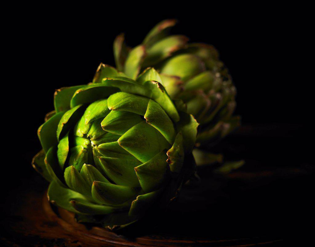 Cynara scolymus, Globe artichoke, Green subject, Black background. : Stock Photo