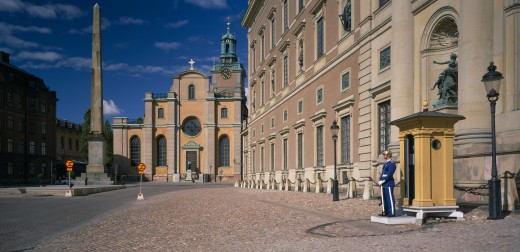 Sweden,  , Stockholm, The Royal Palace With Sentry On Duty : Stock Photo