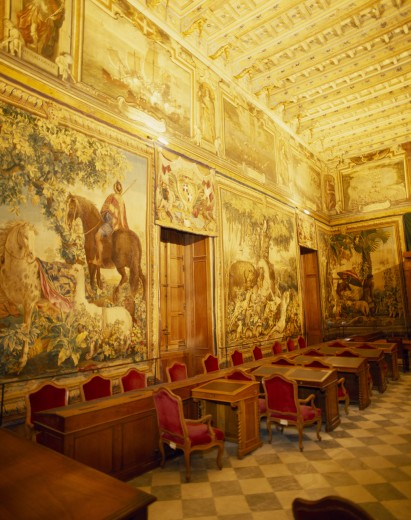 Stock Photo: 1850-5050 Malta, Valletta , Palace Of Grand Masters Tapestry Chamber In Golden Light