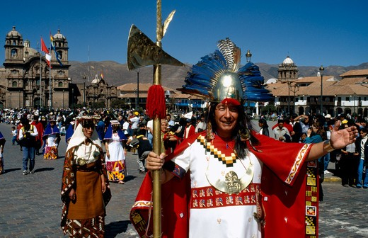 Stock Photo: 1850-5311 Peru, Cusco Department, Cusco, Group In Traditional Costume At Inti Raymi.