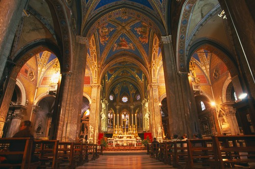 Stock Photo: 1850-5725 Italy, Lazio, Rome, 'Santa Maria Sopra Minerva, 13Th Century Gothic Church.  Interior View Of Vaulted Nave.  '