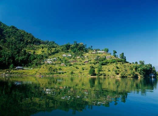 Stock Photo: 1850-5856 Nepal, Annapurna Region, Pokhara, View Over Lake Phewa With Reflected Terraced Hillside With Houses And Trees.
