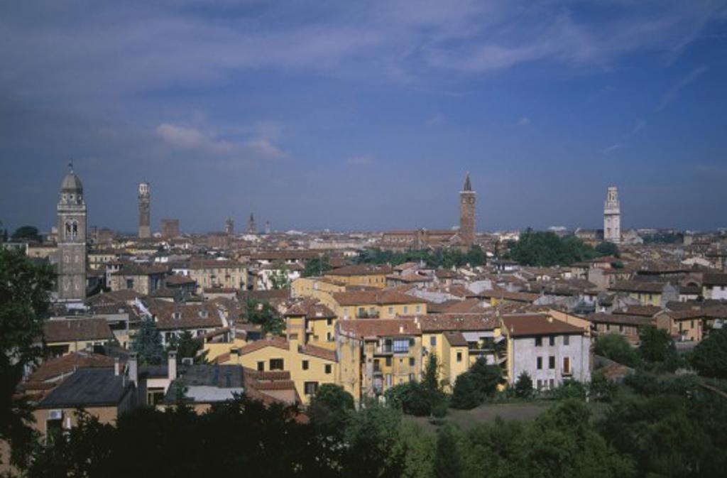 Italy, Veneto, Verona, View Over City Rooftops. : Stock Photo