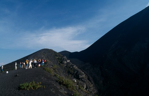 Guatemala, Pacaya Volcano, 'View Of People Hiking Up An Ash Path To The Summit, Stoped To Take Pictures.' : Stock Photo