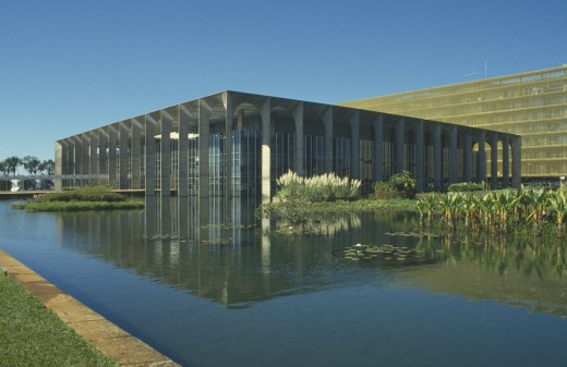 Stock Photo: 1850-660 Brazil, Goias, Brasilia, Hamarti Palace Seen Across Pool