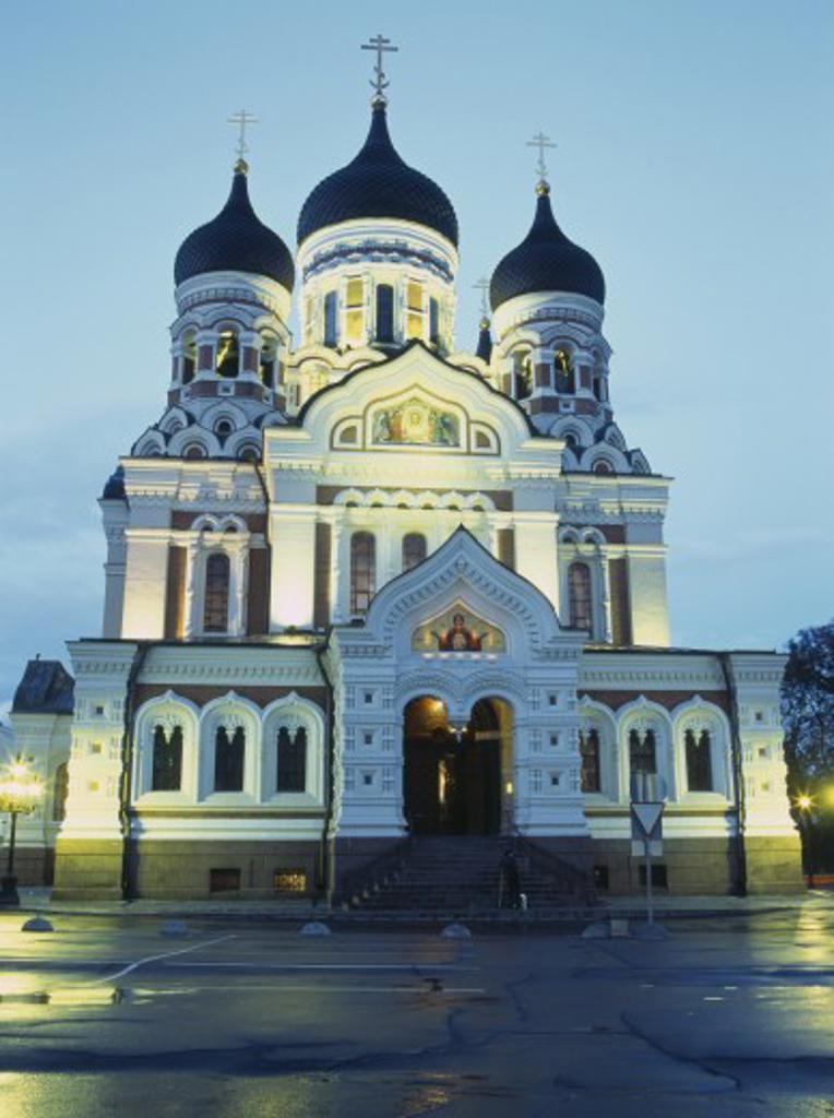 Stock Photo: 1850-6685 Estonia, Tallinn, Alexander Nevsky Cathedral Facade Illuminated At Dusk.