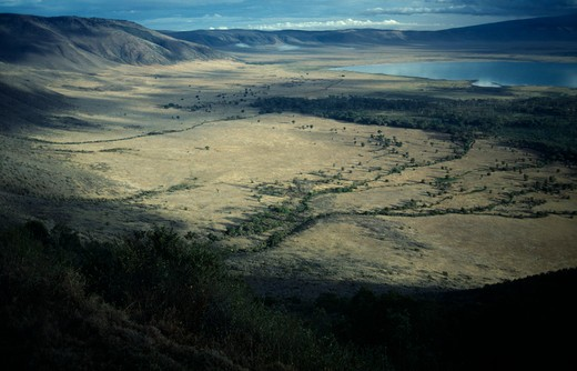 Stock Photo: 1850-7332 Tanzania, Ngorongoro Crater , View From The Rim Of Volcanic Crater Across Valley Floor And Lake Magadi.
