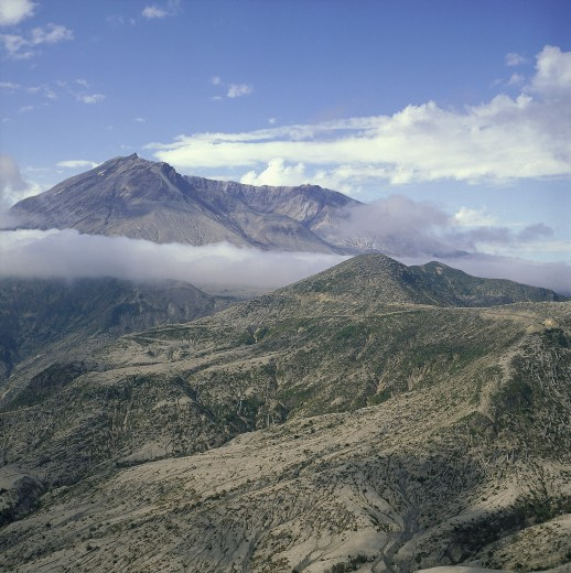 Usa, Washington, Mount St Helens, The Volcano Shrouded In Cloud After The Eruption With The Devastated Landscape Below : Stock Photo