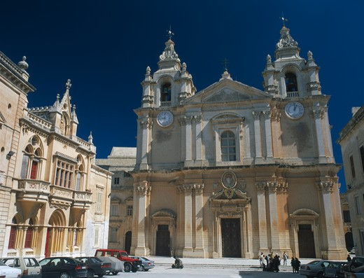 Stock Photo: 1850-7730 Malta, Mdina, St Paul?S Square And Mdina Cathedral. View Of Exterior With Cars Parked In Front.