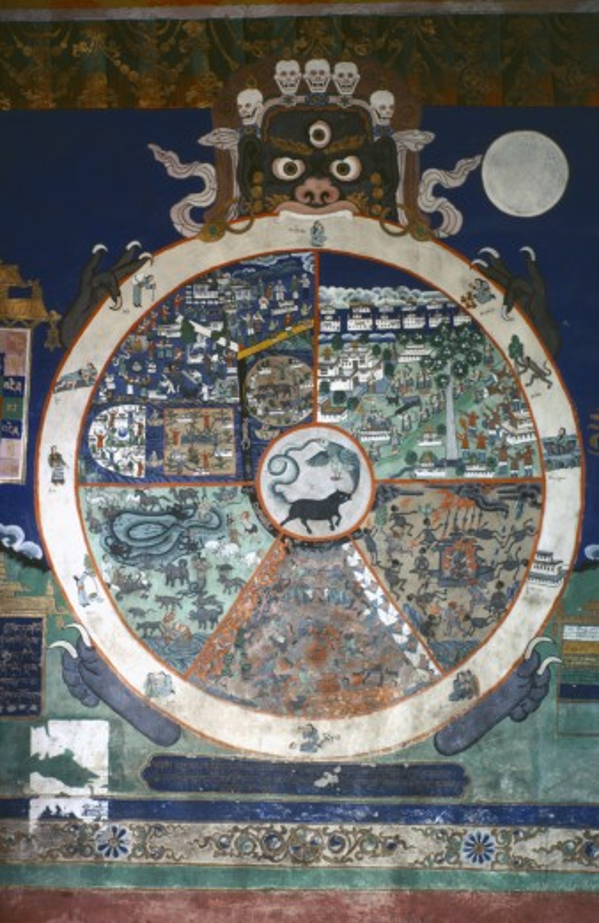 India, Ladakh, Tibetan Buddhist Style Mural Of The Wheel Of Life : Stock Photo