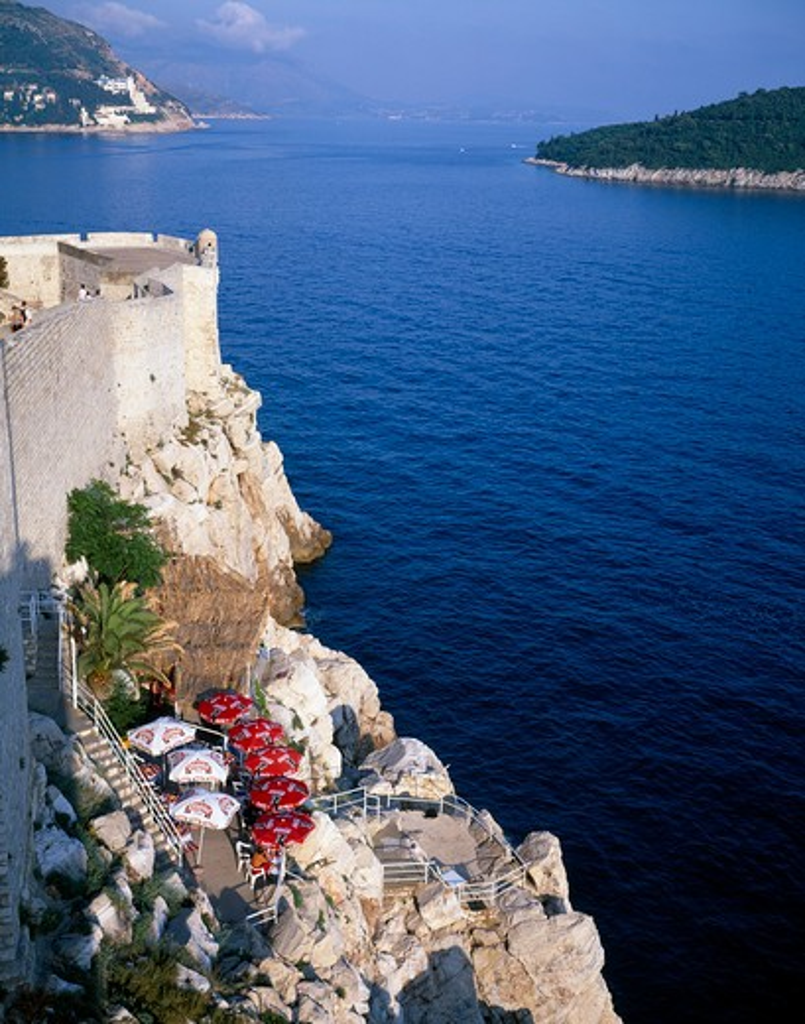 Croatia, Dalmatia, Dubrovnik, Bar On Cliff Outside The City Wall Or Gradske Zidine Facing Kolocep Island : Stock Photo
