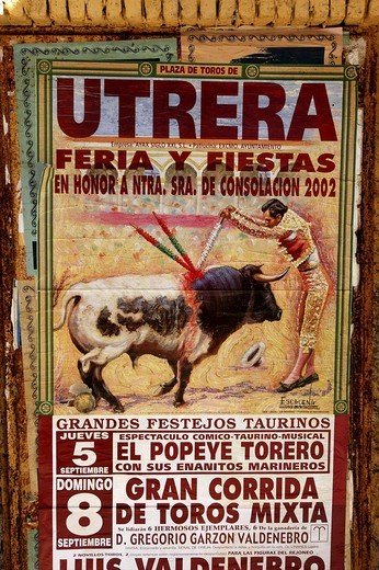 Stock Photo: 1850-8006 Spain, General, Bull Fight Poster Showing A Drawing Of A Matador Spearing A Bull