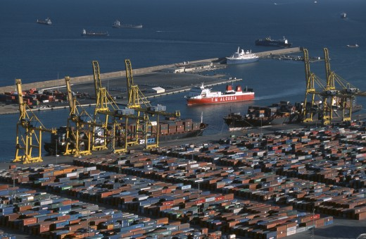 Stock Photo: 1850-8272 Spain, Catalonia, Barcelona, Container Port With Ships And Cranes.