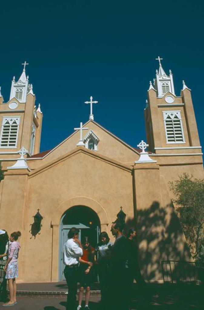 Usa, New Mexico, Albuquerque, Tourists Outside San Felipe De Neri Church In The Old Town Plaza : Stock Photo